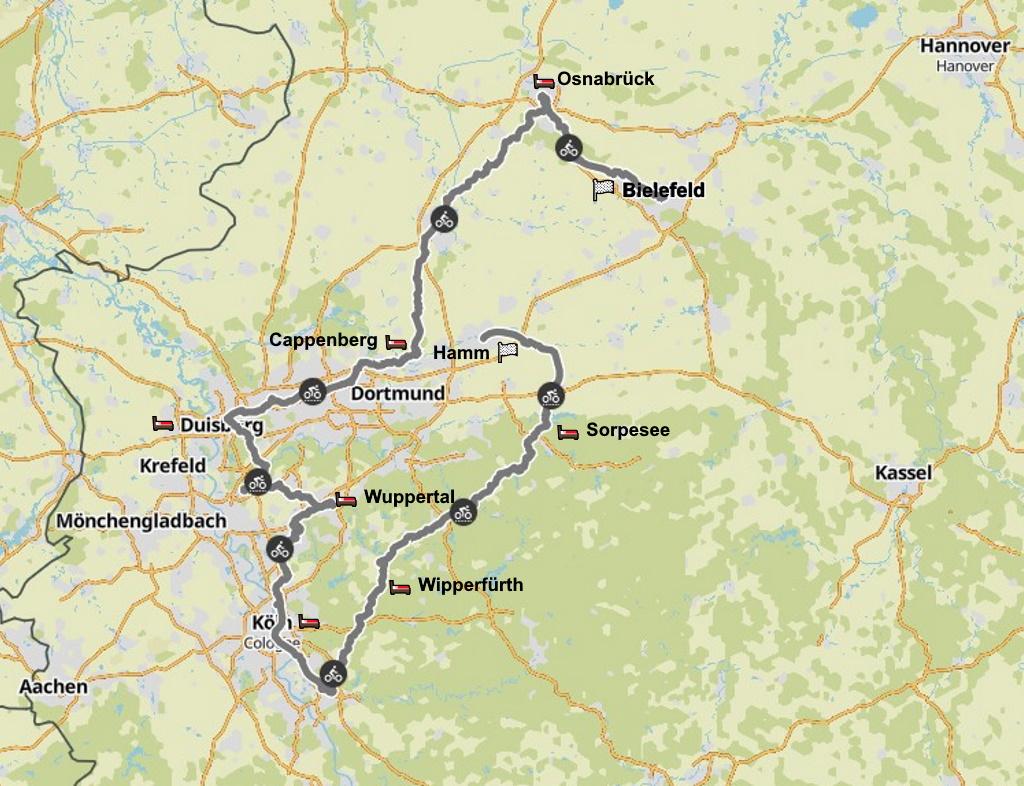 Tour de Ruhr Gesamtstrecke